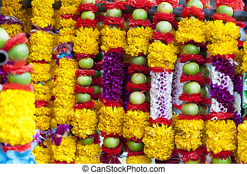 Hindu offerings - Flower and fruit garlands for Hindu...