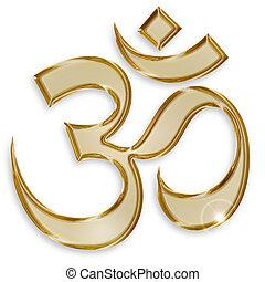 hindu om symbol isolated on white background