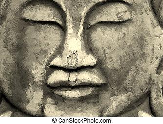 hindu, pedra, expressão