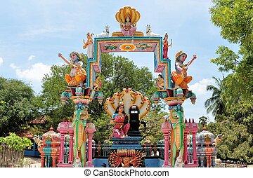 Hindu shrine at island temple, Sri Lanka