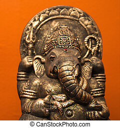 Hindu statue. - Statue of Hindu elephant Ganesha against...