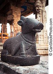 hindu, stier, tempel, statue, nandi