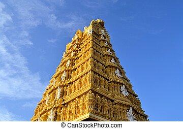 Hindu Temple at Chamundi Hills in Mysore, India - Tall...