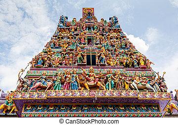 Hindu Temple in Little India, Singapore - Intricate Hindu...