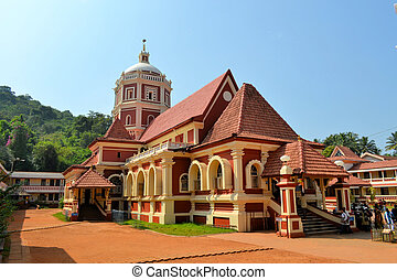 Hindu Temple looking like a church in Goa, India - Shri...