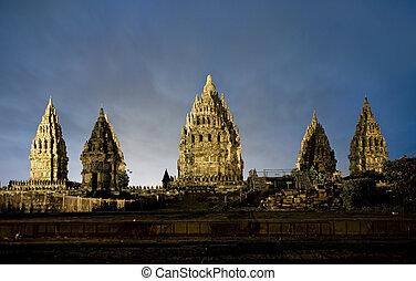 Hindu temple Prambanan. Indonesia, Java, Yogyakarta with night sky