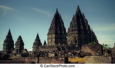 Hindu temple Prambanan. Track dolly - Candi Prambanan is the...