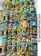 Hindu Temple Sri Lanka - Closeup details on the tower of a...