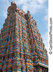 Hindu temple tower - Hindu temple gopura (tower). Menakshi...
