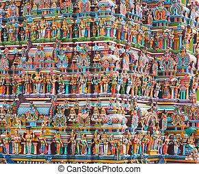 Hindu temple tower - Hindu temple gopura (tower). Menakshi...