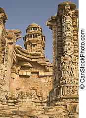 Hindu Victory Tower - Ornate carved stone victory tower...