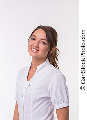 Hindu woman doctor standing over white background