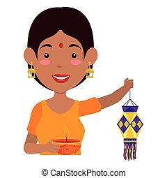 Hindu woman with diwali lantern