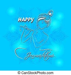 Hindu Young God Lord Krishna. Happy Janmashtami - Hindu...