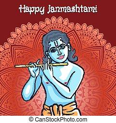 Hindu young god Lord Krishna. Happy janmashtami vector art