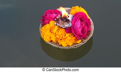 hinduism ceremony puja flowers - hinduism religious ceremony...
