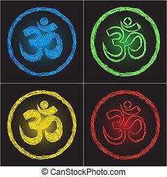 Hinduism religion golden symbol om on black background - doodle