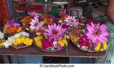 hinduism ritual religion lotus and other flowers, Mumbai...