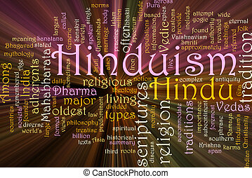 Hinduism word cloud glowing - Word cloud concept...