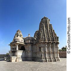 hinduismo, templo, kumbhalgarh, fortaleza