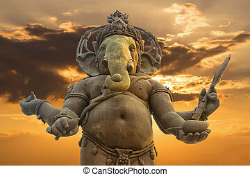 hindus, ganesha, statua, bóg