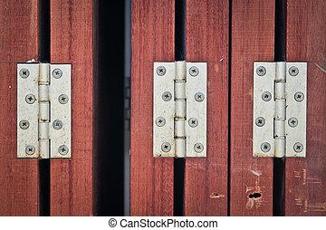 Metal hinges in wooden door panels as a background