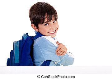 hins, dreng, skole, viser, fingre, unge, derned, bag efter, planke, baggrund, hvid