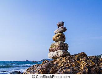 hintáztatni, képben látható, a, lesiklik, közül, a, tenger,...