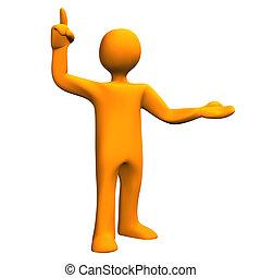 Orange cartoon character have a idea. White background.