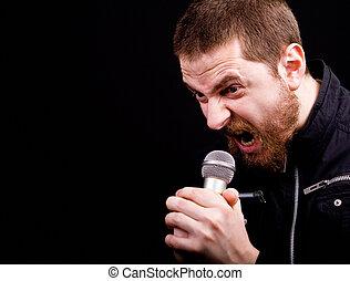 hintaszék, mikrofon, hím, mérges, sikoly