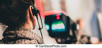 hinten, der, scene., weibliche , kameramann, schießen, film,...