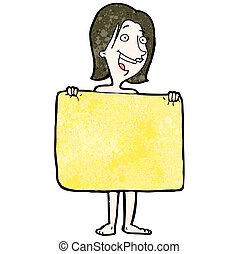 hinten, frau, handtuch, karikatur