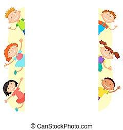 hinten, kinder, plakat, piepsend, abbildung