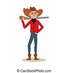 hinten, rotes , gewehr, vektor, mã¤nnerhemd, stehende , stil, hut, cowboy, boots., amerikanische , karikatur, abbildung, tragen, wohnung