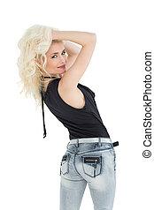 hintere ansicht, porträt, von, a, schöne , beiläufig, blond,...
