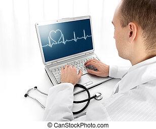 hintere ansicht, von, a, junger doktor, mit, laptop