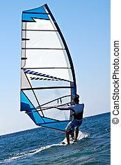 hintere ansicht, von, junger, windsurfer