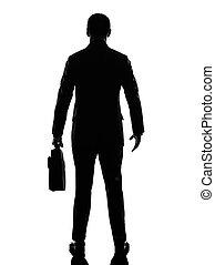 hintere ansicht, zurück, geschäftsmann silhouette