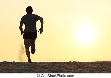 hinterer blick, silhouette, von, a, läufer, bemannen lauf, strand