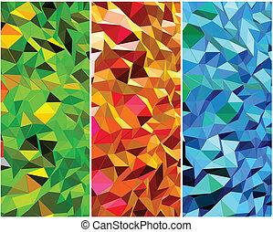 hintergruende, abstrakt, vektor, satz, triangle.