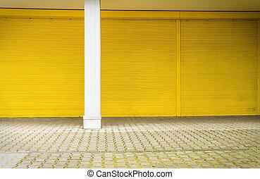 hintergruende, gelber fensterladen, bürgersteig,...