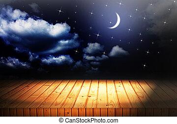 hintergruende, himmelsgewölbe, mond, holz, sternen, nacht,...