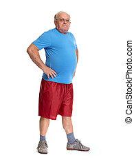 hintergrund., älterer mann, weißes, freigestellt
