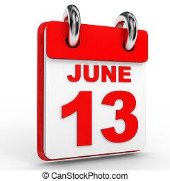 hintergrund., 13, juni, weißes, kalender