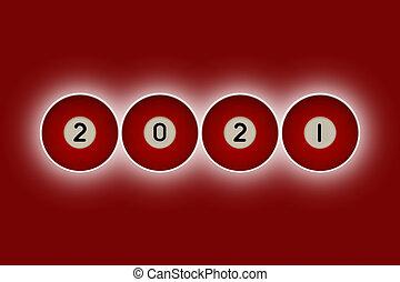 hintergrund, 2021, kugeln, heraus, hintergrund, glühen, rotes , nachricht, teich, spelz
