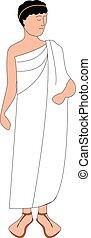 hintergrund., abbildung, griechischer , vektor, weißes, mann