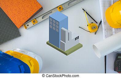 hintergrund, ansicht, bauunternehmer, blaupause, oberseite, architektur