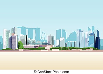 hintergrund, ansicht, skyline, singapur stadt, wolkenkratzer