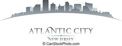hintergrund, atlantisch, skyline, stadt, jersey, neu , silhouette, weißes