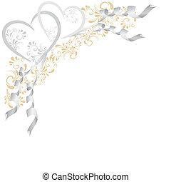 Hintergrund aus Ornamenten mit 2 Herzen in silber